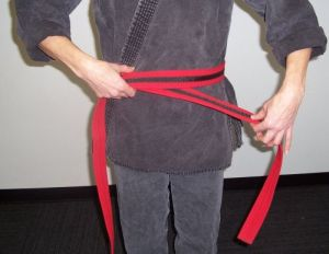 How to tie your karate belt step two